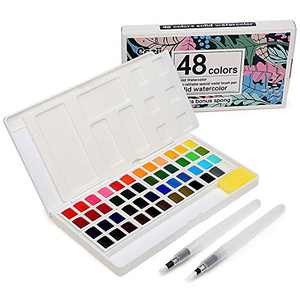 48 Watercolor Paints Set, Art Supplies Portable Watercolor Paint Kit - 2 Refillable Special Water Brush Pens, Sponge and Watercolor Palette