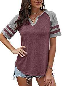 Yidarton Women's Color Block Short Sleeve T Shirt Casual V Neck Tunic Tops(Purple Red,XXL)