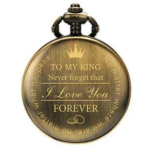 SIBOSUN Pocket Watch for Men Who Have Everything Birthday Gifts for Men Personalized Gifts for Husband Boyfriend (King) Engraved Black (3 Bronze)