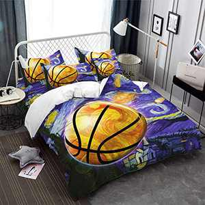 Basketball Sport Bedding 2 Piece Twin Size Basketball Duvet Cover Sport Theme 3D Painting Basketball Printing Quilts Cover with 1 Pillowcases for Men Boys Teens Kids Duvet Bedding Purple