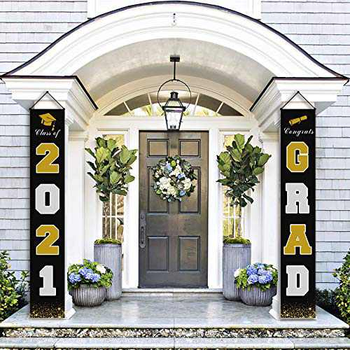 chokeberry Graduation Decorations Banners - Class of 2021 & Congrats Graduation Hanging Banner Set for Outdoor/Indoor Home Front Door Wall, Great Fabric Porch Sign