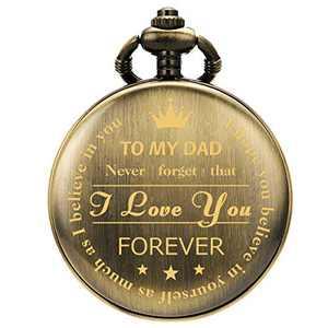SIBOSUN Pocket Watch Men Personalized Black Chain Quartz from Son Daughter Child to DAD Engraved Bronze