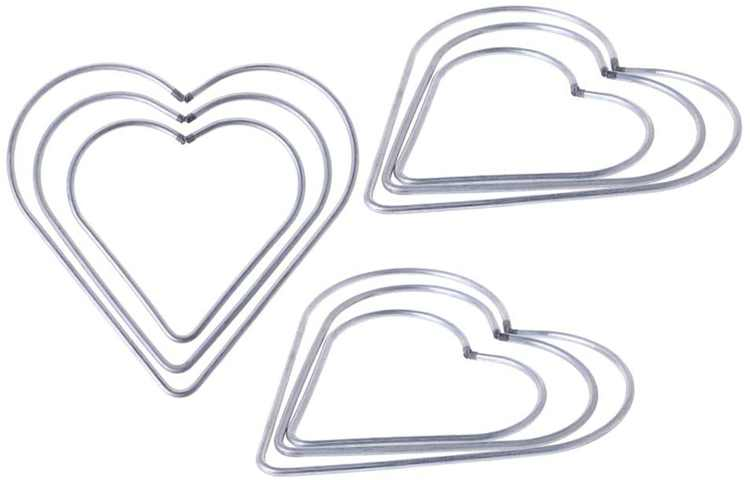 Garneck 9PCS DIY Craft Heart Shaped Iron Metal Ring Hoop for Dream Catchers and Macrame 8cm, 10cm, 12cm