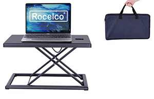 "Rocelco 19"" Portable Laptop Riser, Height Adjustable Travel Standing Desk Converter, Premium Compact Sit Standup Keyboard Monitor Rising Workstation with Carry Bag, Black"