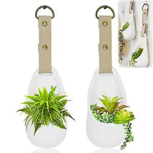 Set 2 Wall Hanging Planters with Canvas Strap, Modern Wall Decor Unglazed Ceramic Air Plant Holder Indoor Home Decor Plant Hanger - White