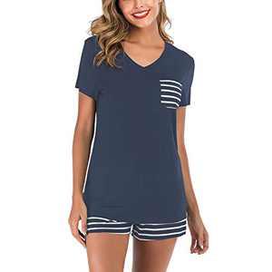 Lu's Chic Women's Short Sleeves Pajamas Set Stripe Top Shorts Nightwear 2 Pieces Soft PJ Loungewear Navy Small
