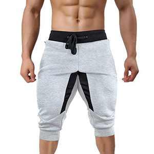 TREKEK Men's 3/4 Workout Pants Running Joggers Gym Shorts Breathable Athletic Capri Sweatpants, Light Gray, 36