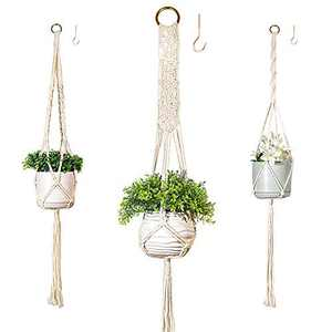 3 Pack Plant Hangers Indoor Outdoor - Handmade Macrame Plant Holder Hooks for Wall Planters Decor Boho Best Gifts