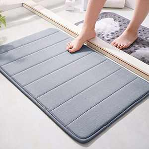 """Memory Foam Bath Mat 15.5"""" X 23"""" Coral Velvet Super Non-Slip Rapid Water Absorption Soft and Comfortable Easier to Dry Machine Wash Bathroom Mat, Gray"""