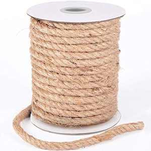 HOMYHOME Jute Twine Rope 8mm Natural Craft Rope Twine String Hessian Rope Hemp Rope for Crafts, Packaging, Arts, Gifts, Decoration, Bundling, Gardening, Industrial and Home 30M