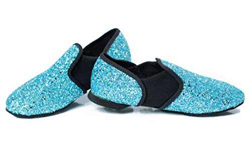 Hand Crafted Glitter Jazz Dance Shoe for Kids Ages 3-10 (Ice Blue, Numeric_13)