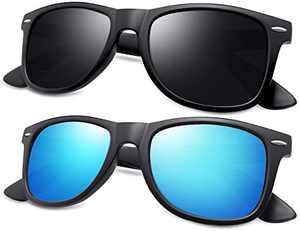 KANASTAL Classic Retro Square Polarized Sunglasses Fashion for Driving Fishing K1940 (matte black + matte blue, 1.69)
