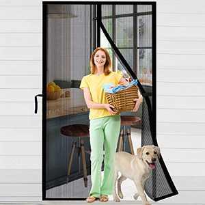 """ACMETOP Magnetic Screen Door 38"""" x 83"""", Upgraded Fiberglass Mesh Screen Door with Handy Hasps, Door Screen with 36 Magnets & 6 Weighted Sticks, Full Frame Hook & Loop Fits Door Size Up to 38"""" x 83"""""""