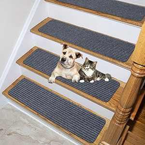 """Lmeison Stair Treads Carpet Non-Slip Self Adhesive 8"""" X 30"""", 15 Pack Indoor Safety Rug Stair Runners for Kids, Elders and Pets, Grey"""