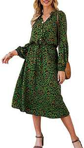 Sulozom Women's Casual Dress Leopard Print Long Sleeve V-Ncek Dresses Button Drawstring Waist Belt Bubble Sleeve Midi Dress Green M