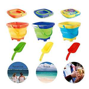 RANLUP 6.7 Inch Beach Pails Sand Buckets and Sand Shovels Set for Kids,Foldable Bucket Portable Silicone Pail for Kids Beach Play, 2L, 3PCS