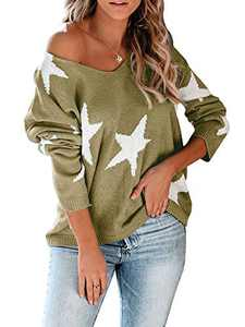 Modershe Womens Off The Shoulder Star Sweater V Neck Casual Long Sleeve Pullover Blouses Tunic Tops Green