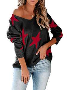 Modershe Womens Off The Shoulder Star Sweater V Neck Casual Long Sleeve Pullover Blouses Tunic Tops Red