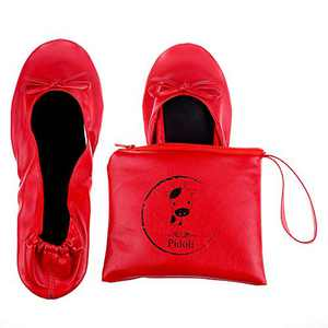 Ballet Flats Shoes -Women's Foldable Portable Travel Roll Up Shoes with Pouch (Red, 6.5)