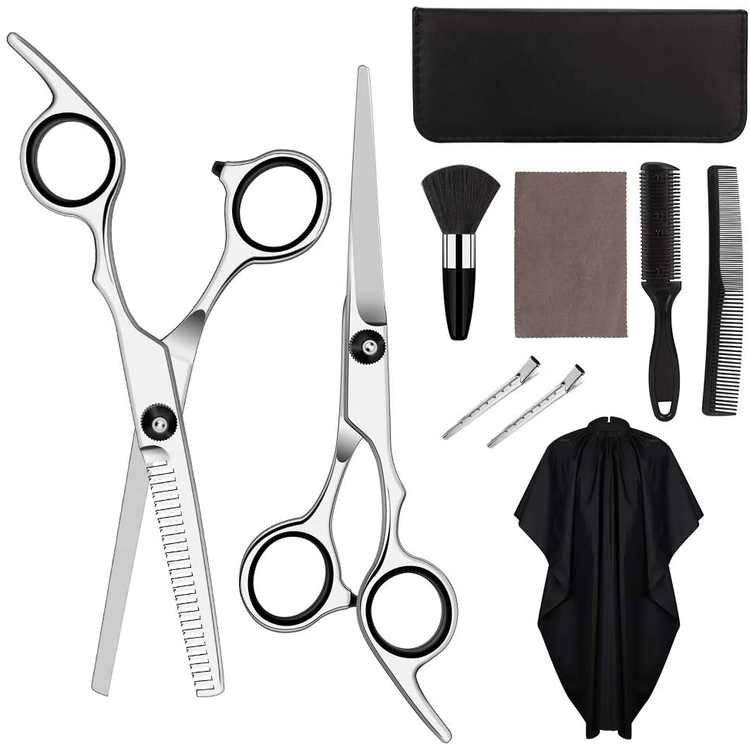 HALOVIE Hairdressers Scissors Thinning Scissor Hairdressing Set Professional Hair Cutting Shears Kit for Barber Home Salon Men Women Children(Black,10pcs)