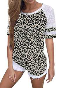 Yidarton Women's Color Block Short Sleeve T Shirt Casual Round Neck Tunic Tops(Leopard,L)