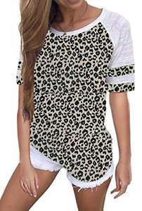 Yidarton Women's Color Block Short Sleeve T Shirt Casual Round Neck Tunic Tops(Leopard,XXL)
