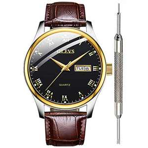OLEVS Mens Brown Leather Watch for Men Calendar 2020 Waterproof Black Mens Watches Inexpensive Great Analog Quartz Wrist Watches for Men Christmas Gifts Watch