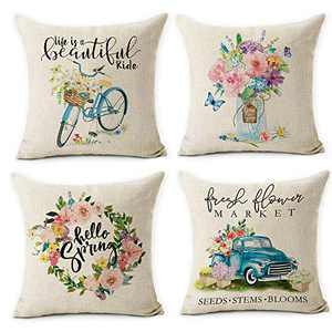 pinata Spring Throw Pillow Covers 18x18 Inches Set of 4 Hello Spring Fresh Flower Market Linen Cushion Cases for Spring Home Decor Decorative Farmhouse Pillowcase