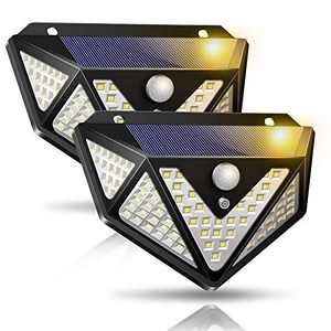 2Pcs Solar Motion Sensor Light, Upgraded Solar Lights Outdoor, 109 LED 270° Wide Angle, IP65 Waterproof 3 Modes Wireless Solar Powered Wall Light Security Lights for Front Door Garage Yard Pathway