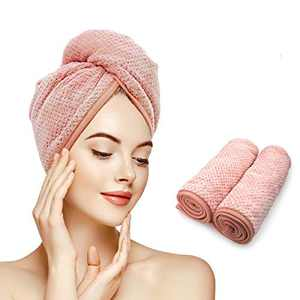 Gepege 2 Pack Hair Towel Wrap, Hair Drying Towel with Button, Microfibre Hair Towel for Women, Quick Magic Hair Dry Hat (Pink+Pink)