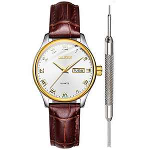 OLEVS Brown Leather Watch Women White Ladies Wrist Watches for Women Waterproof Calendar Analog Quartz Women Watch with Classic Unique Couples Casual Valentine's Day Gifts