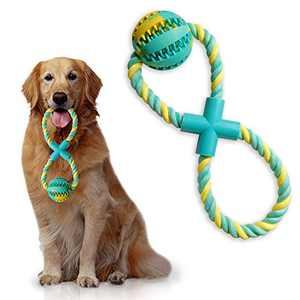 Upgrade 8-Shaped Dog Rope Chew Toys Tug of War Combine IQ Treat Ball Interactive Food Dispenser Training Playing Teeth Cleaning