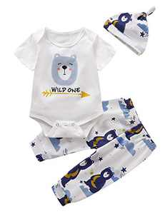 Shalofer Baby Boys Wild One Bodysuit Toddler First Birthday Outfit Set (White03,6-12 Months)