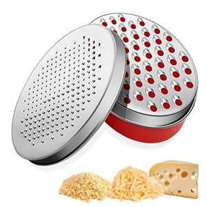 Cheese Grater Kitchen Zester Chocolate Grater Stainless Steel Sharp Blade with Food Storage Container for Cheese, Chocolate, Lemon - Red