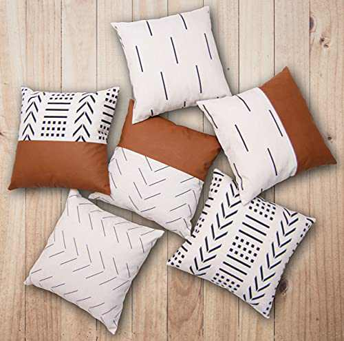 EFOLKI Boho Throw Pillow Covers for Couch and Bed 18x18 Set of 6, Boho Decor, Faux Leather, Farmhouse, Ivory White Square Decorative Throw Pillows Covers