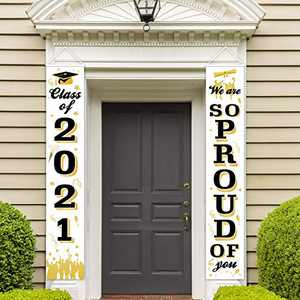 Trgowaul Graduation Porch Sign - Class of 2021 & Congrats Graduation White Hanging Banner Set for Outdoor/Indoor Home Front Door Wall Graduation Party Decoration