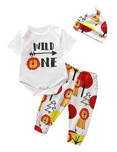 Shalofer Baby Boys Funny Lion Bodysuit Toddler One Year Old Birthday Outfit Set (White01,6-12 Months)