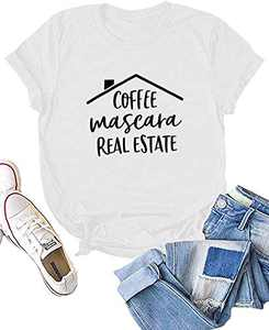 Dauocie Womens Coffee Mascara Real Estate Short Sleeve Letter Print T Shirt Cute Novelty House Idea Casual Graphic Tees Tops