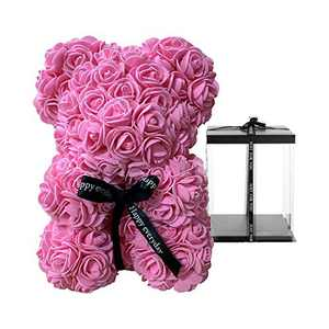 "Forever Rose Teddy Bear - 10 Inch Flower Bear with Box, Artificial Flowers, 10"" Rose Bear Gifts for Women, Mother's Day, Valentine's Day, Birthday, Anniversary - Pink"