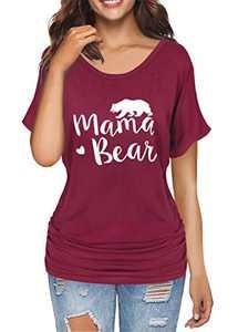 Dolman Drape Tops for Women Mama Bear Short Sleeve Shirt Tunic Tops Casual Wine XXL