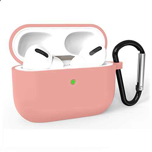 Airpods Pro Case Cover, Adepoy Soft Silicone Shockproof Protective Cover with Keychain Case Compatible for Airpods Pro 2019 [Front LED Visible], Orange