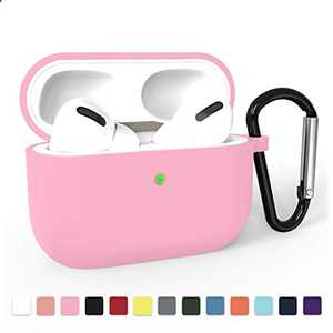 Airpods Pro Case Cover, Adepoy Soft Silicone Shockproof Protective Cover with Keychain Case Compatible for Airpods Pro 2019 [Front LED Visible], Pink