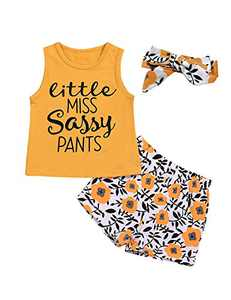 Shalofer Baby Girls Little Miss Sassy Pants Outfit Toddler Floral Short Set (Yellow,12-18 Months)