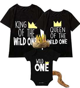Shalofer Baby Boys First Birthday Outfit Toddler Wild One Bodysuit with Tail and Crown(Black-Short Sleeve,6-12 Months)