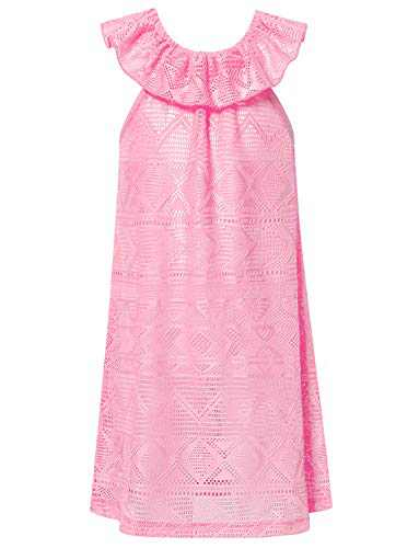 Perfashion Little Girls Swimwear Cover Up Pink Beach Dress Cold Shoulder Ruffle Net 4t 5t
