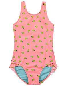 Cadocado Girl's Ruffle Swimsuit One Piece Racer Back Bathing Suit Scoop Neck Modest Beach Sport Swimwear (Pink, 9-12M)