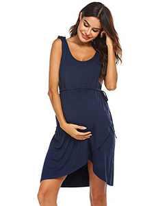 Ekouaer Breastfeeding Dress Maternity Nightgown Pregnant Nursing Nightdress (Navy, Large)
