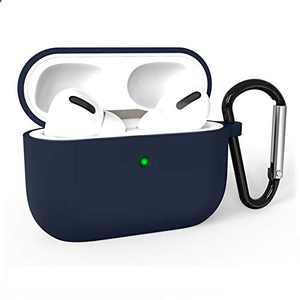 Airpods Pro Case Cover, Adepoy Soft Silicone Shockproof Protective Cover with Keychain Case Compatible for Airpods Pro 2019 [Front LED Visible], Darkblue