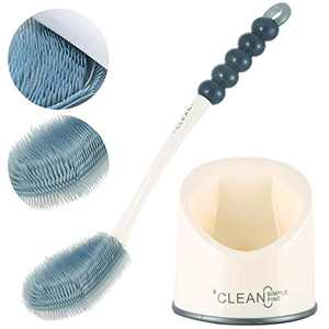 Toilet Brush with Holder Set,Silicone Toilet Brush Flat and Holder Set,Quick-Drying, deep Cleaning in The Groove, not Easy to Break,not Damage The Toilet Surface, Soft Brush, Wide spacing, Durable