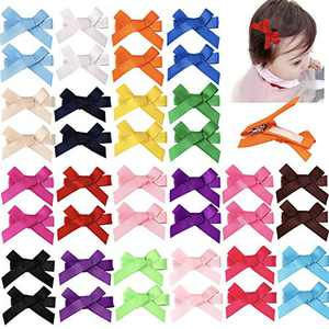 """40pcs 2"""" Tiny Hair Bows Clips Fully Lined for Baby Girls Fine Hair Infants Toddlers Non Slip 20 Pairs LCLHB"""